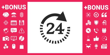 Open around the clock symbol icon. Opening hours symbol icon Vector illustration. Stock Illustratie
