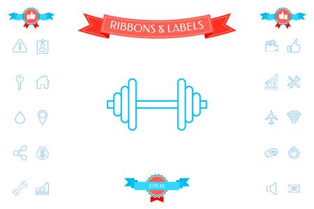 Barbell line icon Illustration
