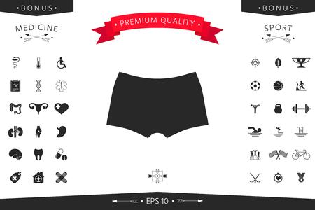 Men underwear in silhouette with menu item in the web design. Stock Illustratie