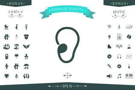 Ear symbol icon. Element for your design Çizim