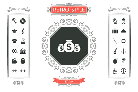 Bags of money icon with dollar symbol Vectores