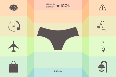 Women panties, the silhouette. Menu item in the web design isolated on  colorful background.