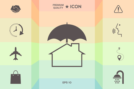 Security and protection icon. Home under umbrella isolated on colorful background.