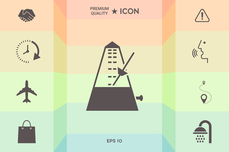 Metronome icon symbol isolated on colorful background. Illustration