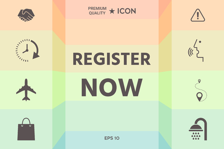 Register now button Ilustrace
