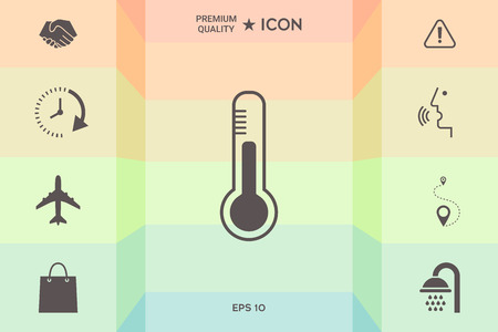 Thermometer icon symbol isolated on colorful background.