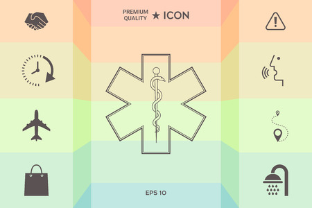 Medical symbol of the Emergency  as Star of Life isolated on colorful background.