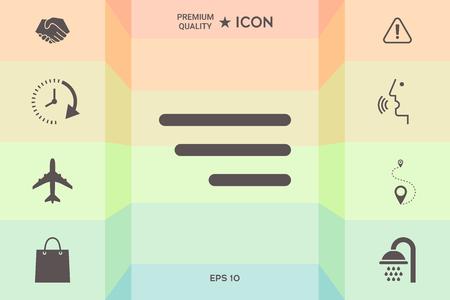 Icône de menu moderne pour les applications mobiles et les sites Web isolés sur fond coloré. Vecteurs