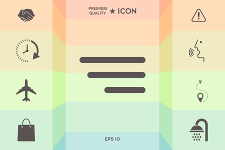 Modern menu icon for mobile apps and websites isolated on colorful background.