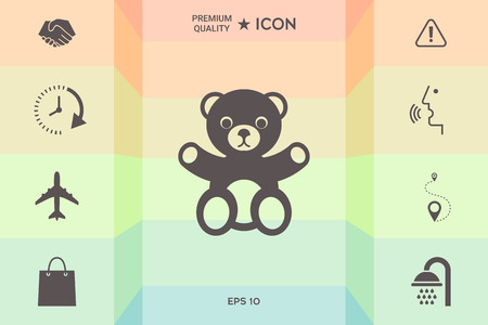 Teddy bear icon isolated on colorful background.