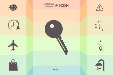 Key symbol icon  isolated on colorful background. Illustration