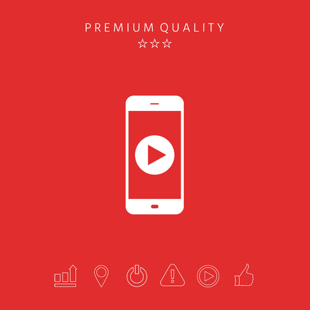 Business Phone with  play button  icon. Element for your design Illusztráció