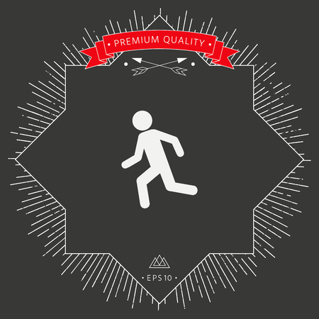 Running man, run icon  in black background. Illustration