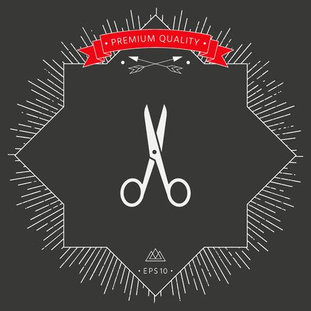Scissors icon symbol in black background.