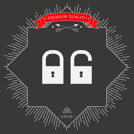 Lock, unlock - set icon  in black background.