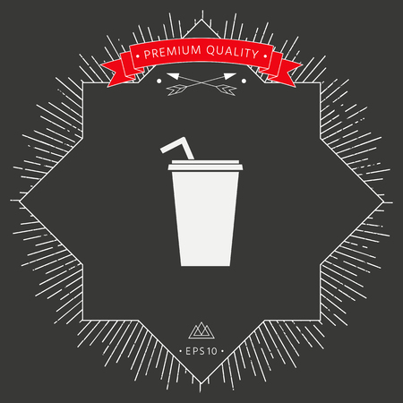Paper cup with drinking straw icon in black background.