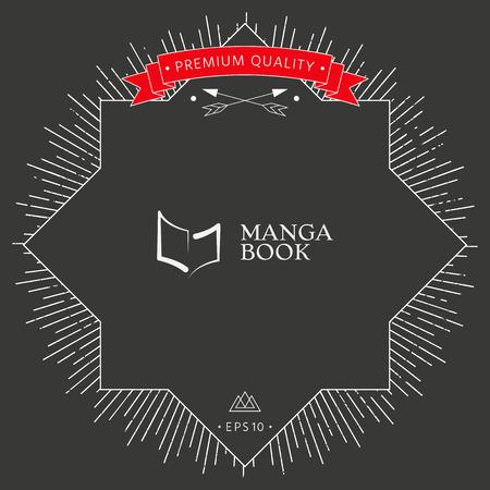 Elegant logo with book symbol like brush stroke Vector illustration. Ilustrace