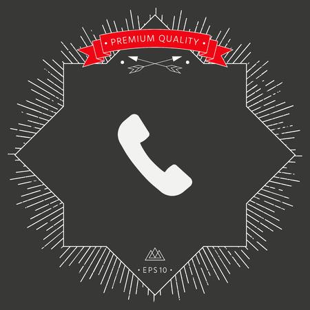 Telephone handset symbol, telephone receiver icon Vector illustration.