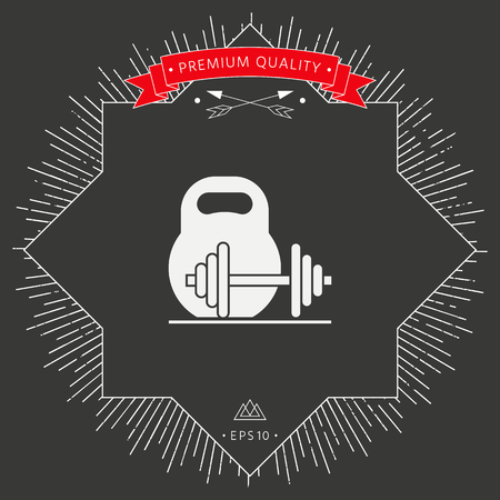 Barbell and kettlebell icon on dark background. Vector illustration. Illustration