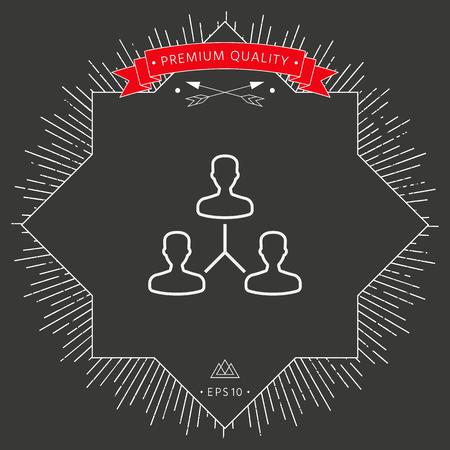 Company hierarchy  icon on dark background. Vector illustration.
