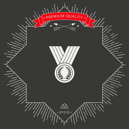 Medal with Laurel wreath, icon Vector illustration. Illustration