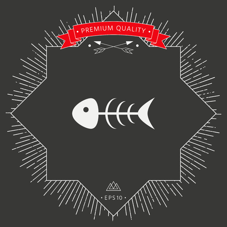 Fish bone icon on dark background. Vector illustration.