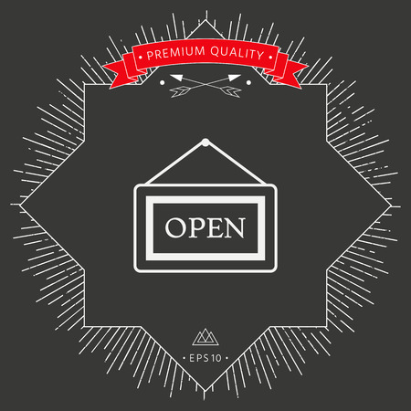 Open sign icon on dark background. Vector illustration. 向量圖像