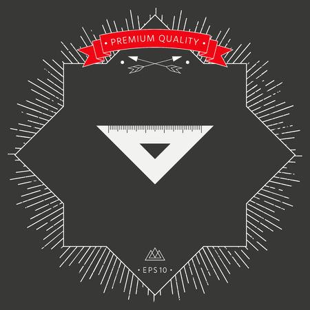 Triangle ruler icon on dark background. Vector illustration.