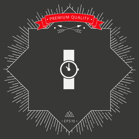Wristwatch icon symbol in black background. Stock Illustratie