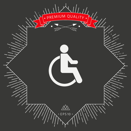 Man on wheelchair icon on dark background. Vector illustration. Illustration