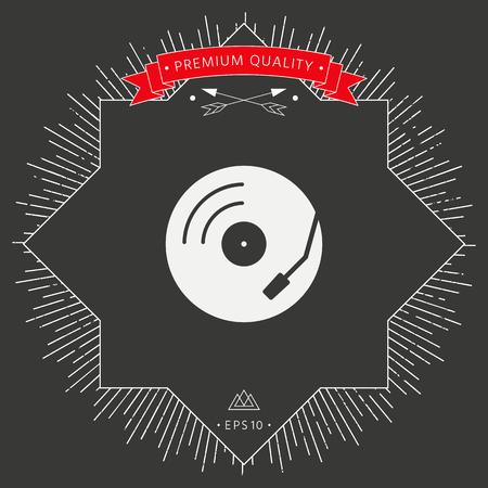 Vinyl player icon on dark background. Vector illustration.