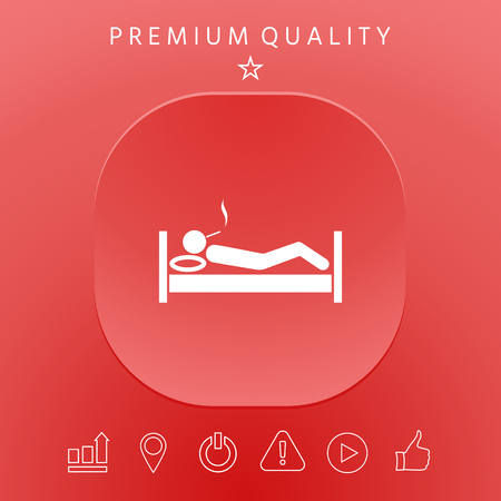 Smoking in bed icon Illustration