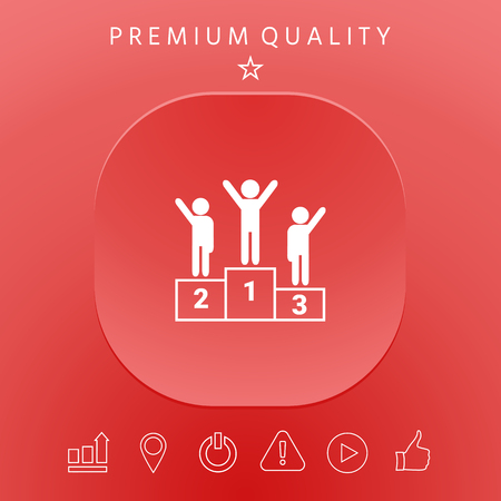 People on podium graphic elements design illustration.