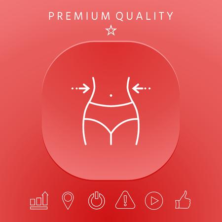 Women waist, weight loss, diet, waistline - line icon 일러스트