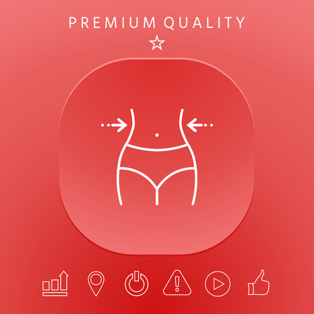 Women waist, weight loss, diet, waistline - line icon 向量圖像