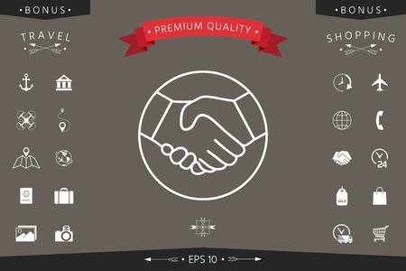 Symbol of handshake in circle. Line Icon