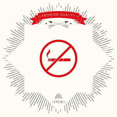No smoking, smoking ban icon. Cigarette - prohibiting sign