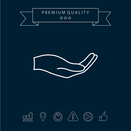 Open hand  line icon isolated on  dark background Illustration