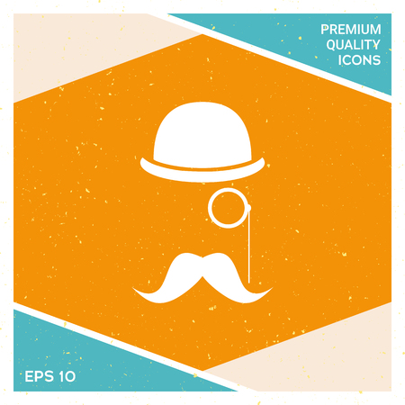 Abstract hipster silhouette with bowler hat, monocle, mustache. Element for your design. Illustration