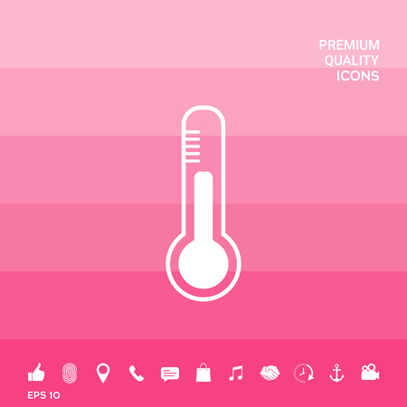 Thermometer icon. symbol on pink illustration with icon, app.