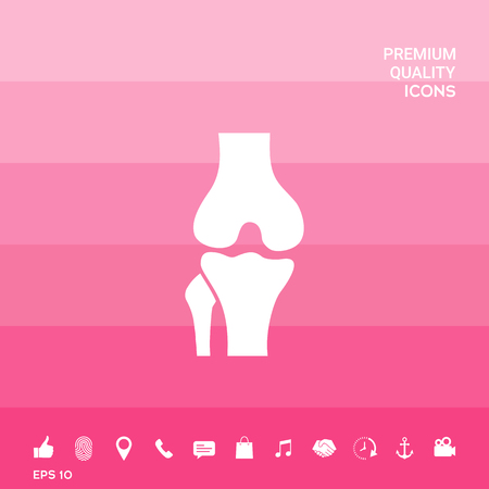 Knee joint icon on pink illustration with icon, app.