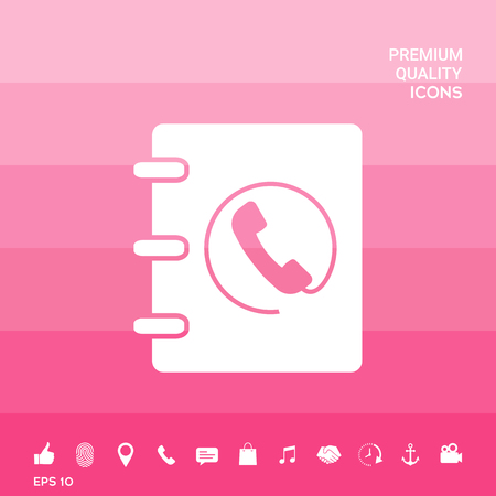 Phone book icon with handset symbol