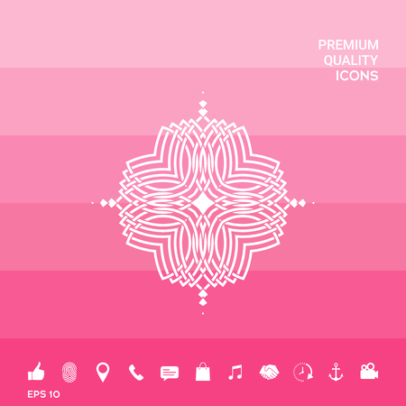 Geometric oriental pattern. Icon on pink illustration with icon, app.