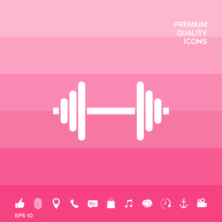 Barbell symbol icon on pink illustration with icon, app.