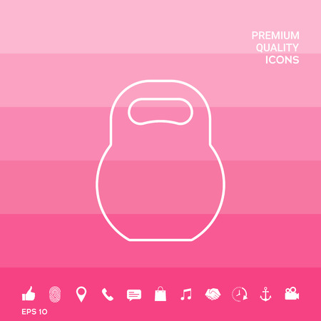 Kettle bell line icon on pink illustration with icon, app. Illustration