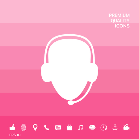 Operator in headset. Call center icon on pink illustration with icon, app.