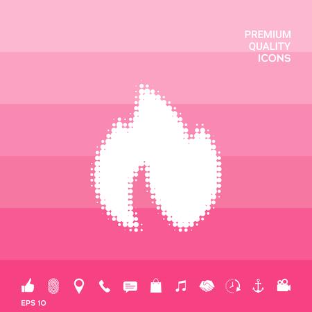 Fire, flame - halftone logo.