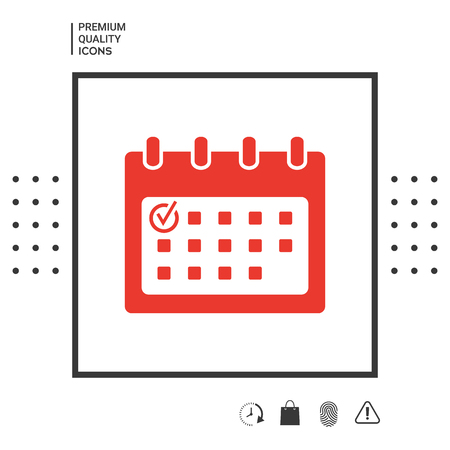 Calendar icon with check mark Stock Illustratie