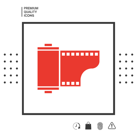Photographic film cassette icon in white square on white background with icon, app. Illustration