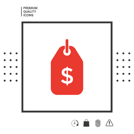 Tag with dollar symbol. Price tag icon for download . Signs and symbols - graphic elements for your design